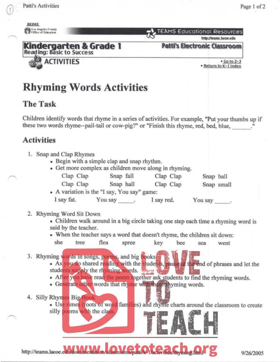 medium resolution of Rhyming Words Activities   LoveToTeach.org
