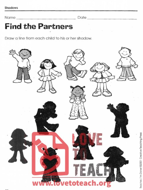 small resolution of Shadow Matching Worksheets   LoveToTeach.org