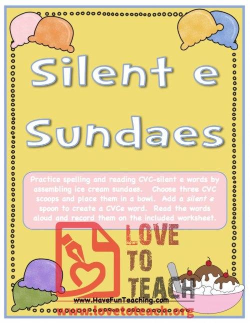 small resolution of Silent 'E' Sundaes (CVCe Activity)   LoveToTeach.org