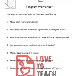 Tangram Worksheet - with 5 Patterns   LoveToTeach.org [ 1165 x 900 Pixel ]