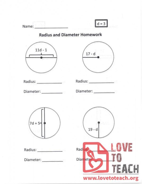 Radius and Diameter Homework (B) With Answers