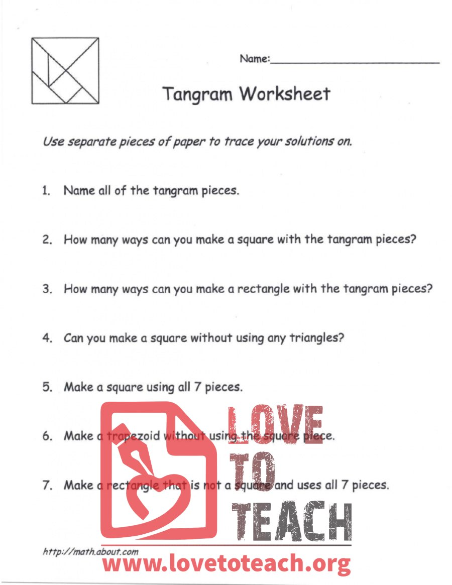 hight resolution of Tangram Worksheet - with Square Pattern   LoveToTeach.org