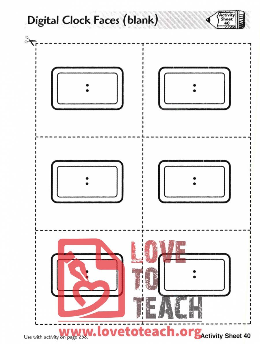 hight resolution of Digital Clock Faces (Blank)   LoveToTeach.org