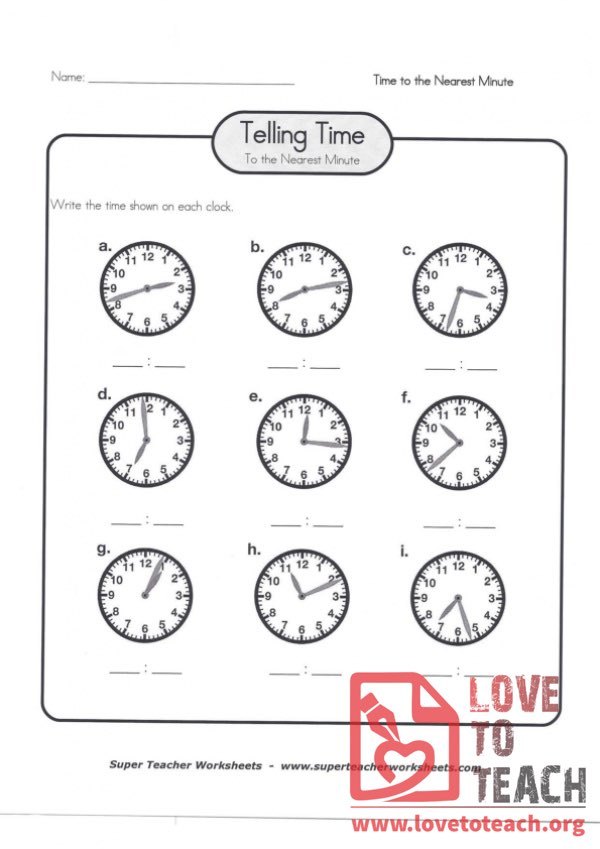 Telling Time to the Nearest Minute (B) (with Answer Key