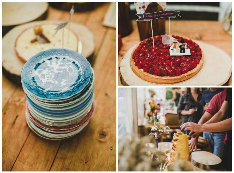 Love & Tralala Mariage champêtre en Dordogne - vaisselle vintage chinée, tarte avec lego, rondins de bois
