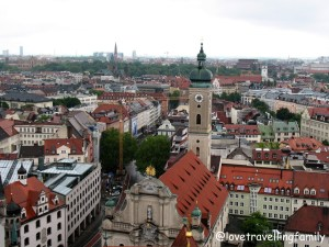 Peterskirche tower view Munich, Germany, Love travelling family