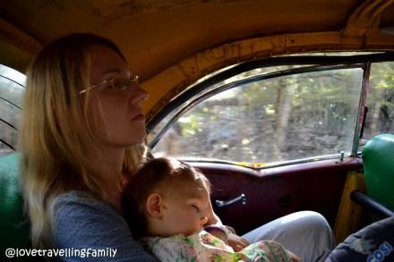 Love travelling family in a collectivo, Cienega de Zapata, Cuba