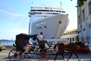 cruise ship and horse carriage, Havana