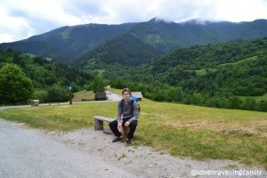 Love travelling family in Vlkolinec, Northern Carpathians