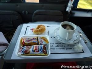 Breakfast in Rio Uruguay bus from Buenos Aires to Puerto Iguazu