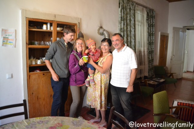 Love travelling family with the loving hosts at Guest House Svan-Ski, Mestia, Svanetia, Georgia