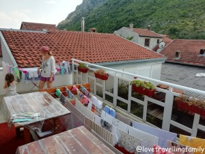 Laundry time. Our terrace in Mostar, Bosnia and Herzegovina. Balkans with kids.