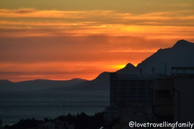 Sunset Makarska, Makarska Riviera. Croatia with kids. Family travel guide