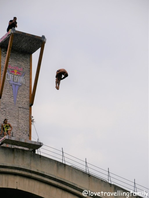 Red Bull Cliff Diving event Mostar Bosnia and Herzegovina. Things to do in Mostar