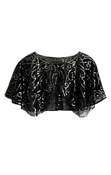 Czarna transparentna krótka pelerynka srebrne cekiny