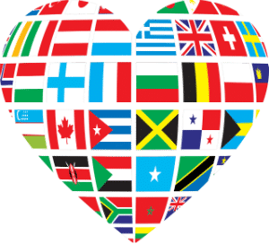 A heart with flags of the country's of the world inside