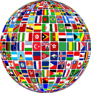 A world globe with many different country colored flags inside the globe count