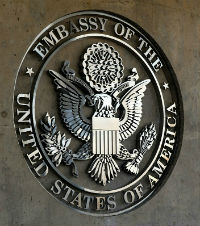 Seal of the Embassy of the United States on a plaque