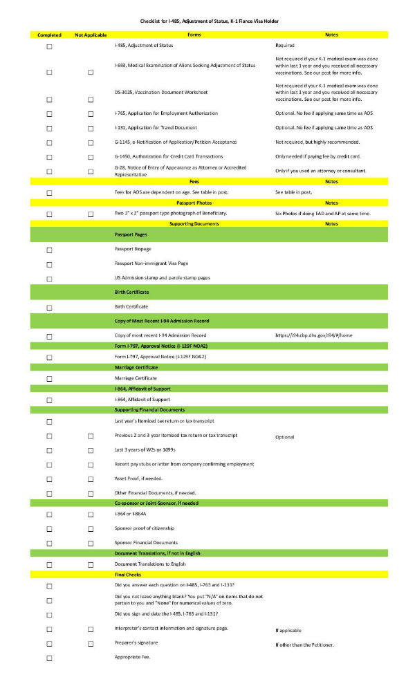 K1 Adjustment Of Status Checklist Uscis Form I 485 Lovevisalife