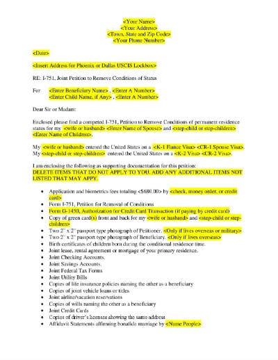 sample cover letter for 1-751