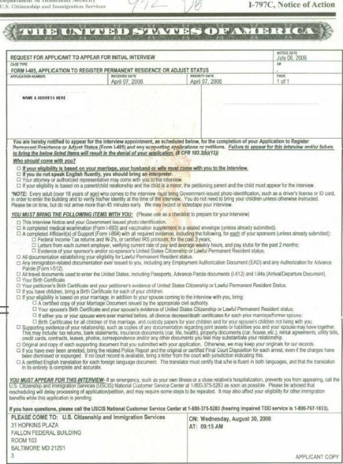 form i 485 initial interview  USCIS Adjustment of Status Interview Preparation Checklist ...
