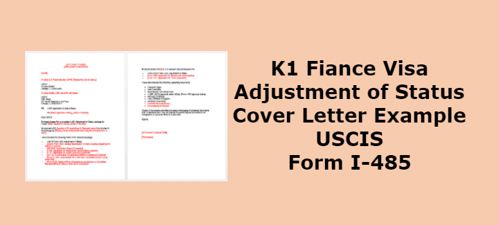 K1 Adjustment of Status Cover Letter Example USCIS Form I ...
