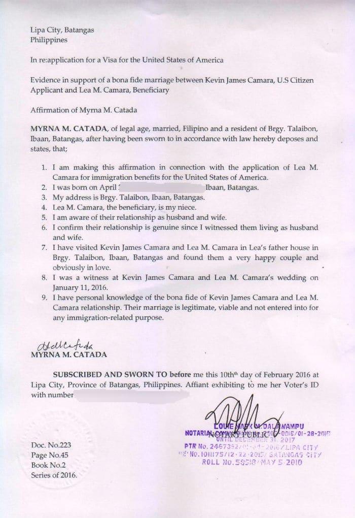 sample affidavit letter for bonafide marriage