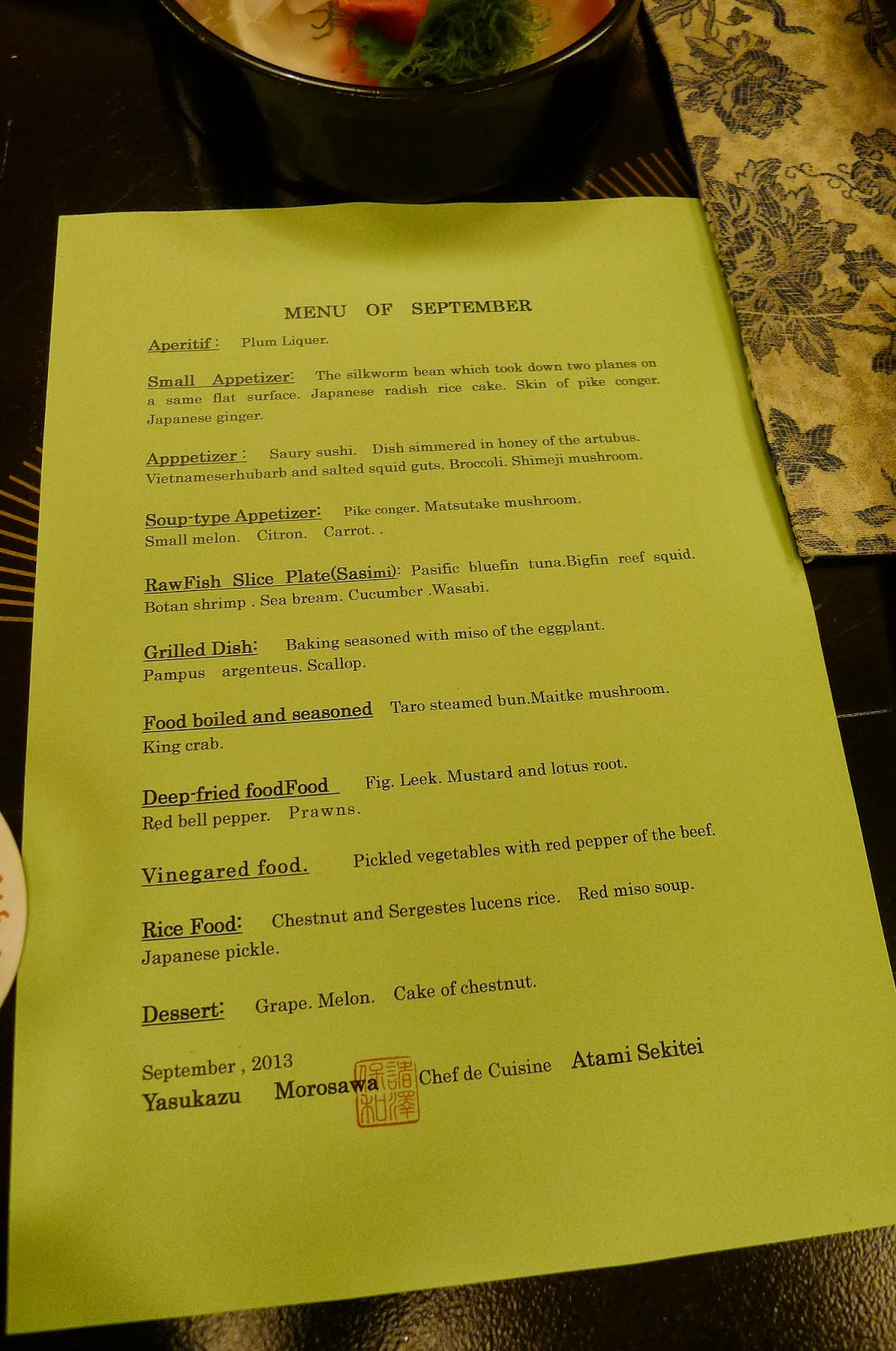 Menu for the first night
