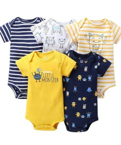 Printed Cotton Baby's Onesies 5 pcs Set