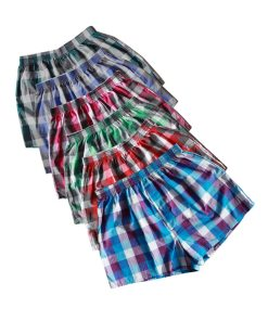 Men's Checked Cotton Underwear Shorts 4 Pcs Set