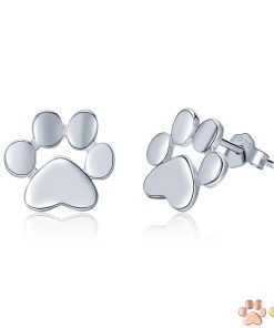 Silver Paw Stud Earrings