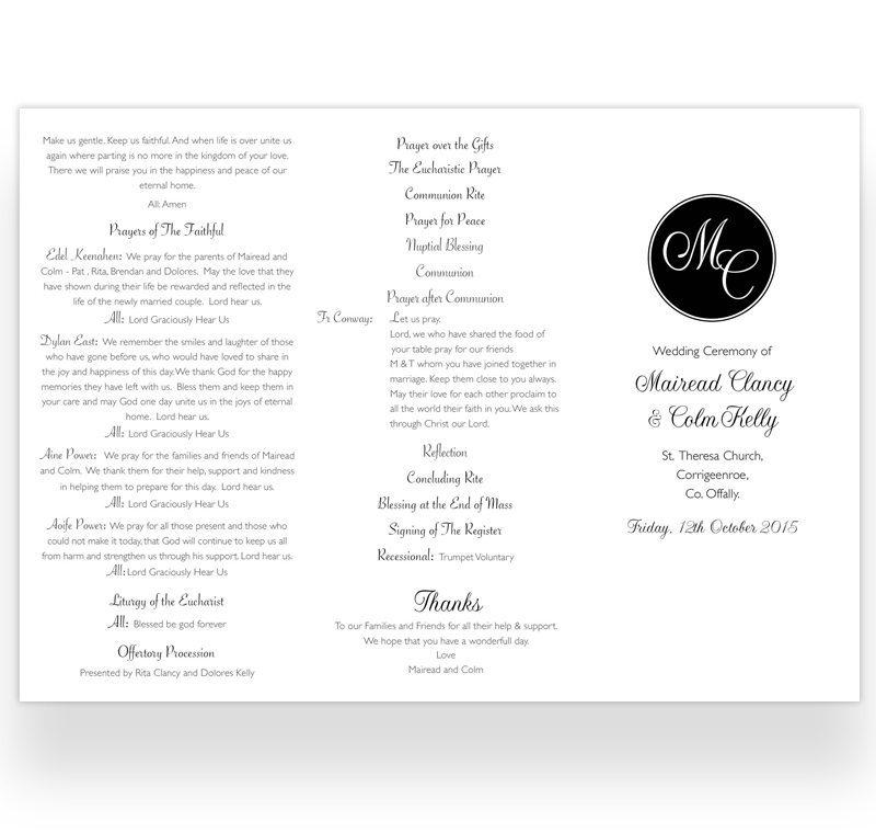 Trifold Wedding Ceremony Booklet Sample  Loving Invitations