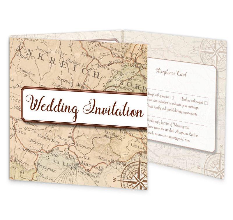 Around The World Travel Inspired Wedding Invitation With Rsvp Inside