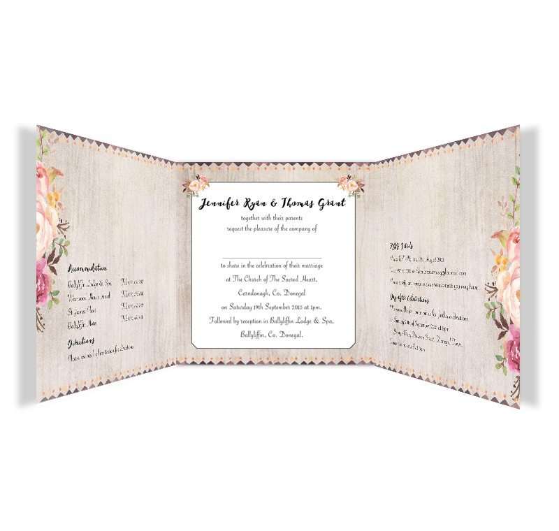 Flowering Affection Trifold wedding invitation  Loving