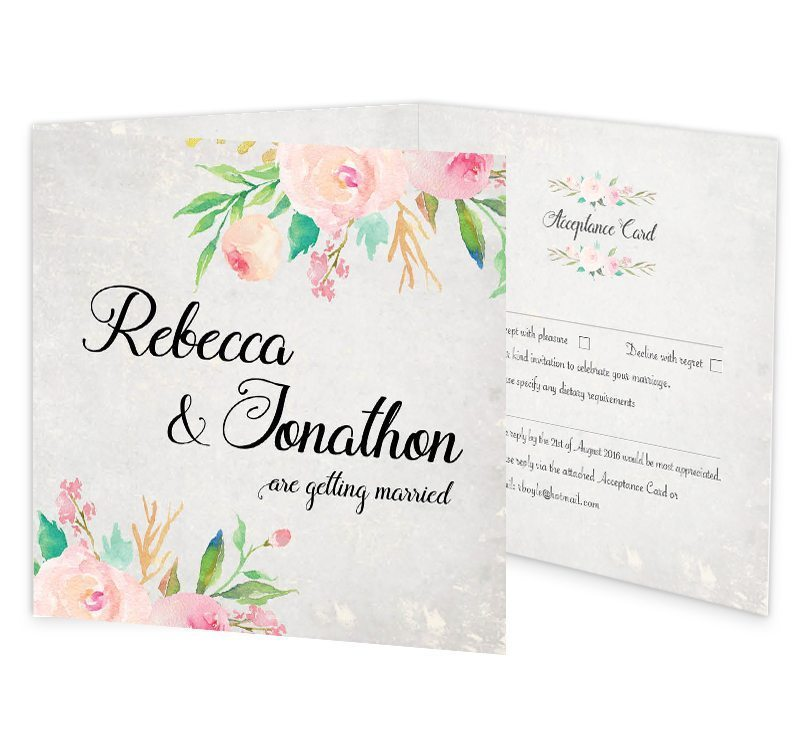 Floral Beauty Trifold wedding invite  rsvp  Loving
