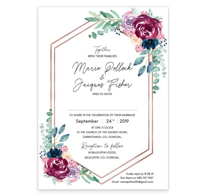 Delicate Bloom Wedding Invitation Sample