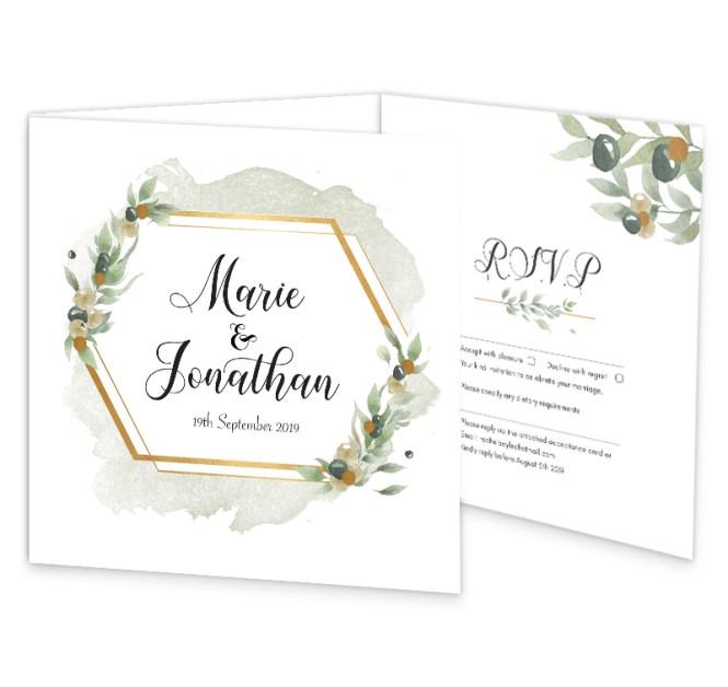 Beautiful Botanical Tri Fold Wedding Invite Rsvp