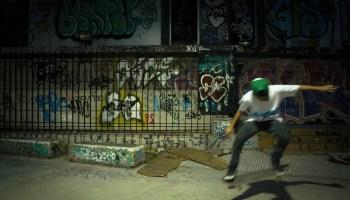 Julian Felipe (20) skatng at the skatepark at 10:30pm.