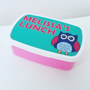 Personalised lunch box with owl design