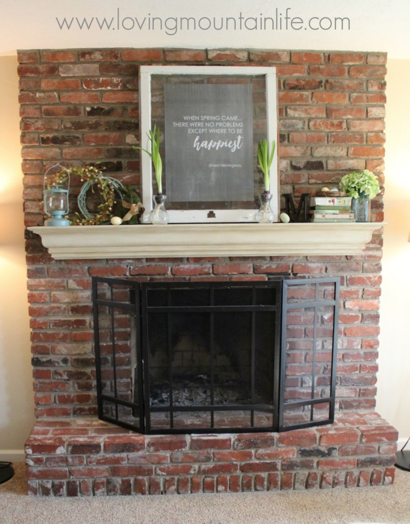 Spring Mantel with FREE Printable from Loving Mountain Life