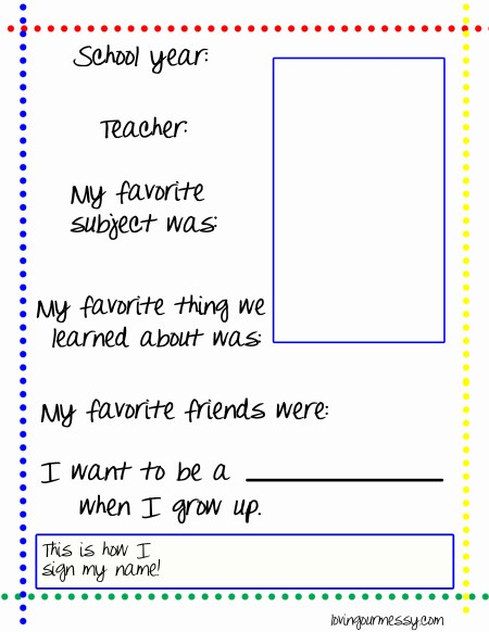 School Year Summary Sheets - Free Printable! | Loving Our Messy