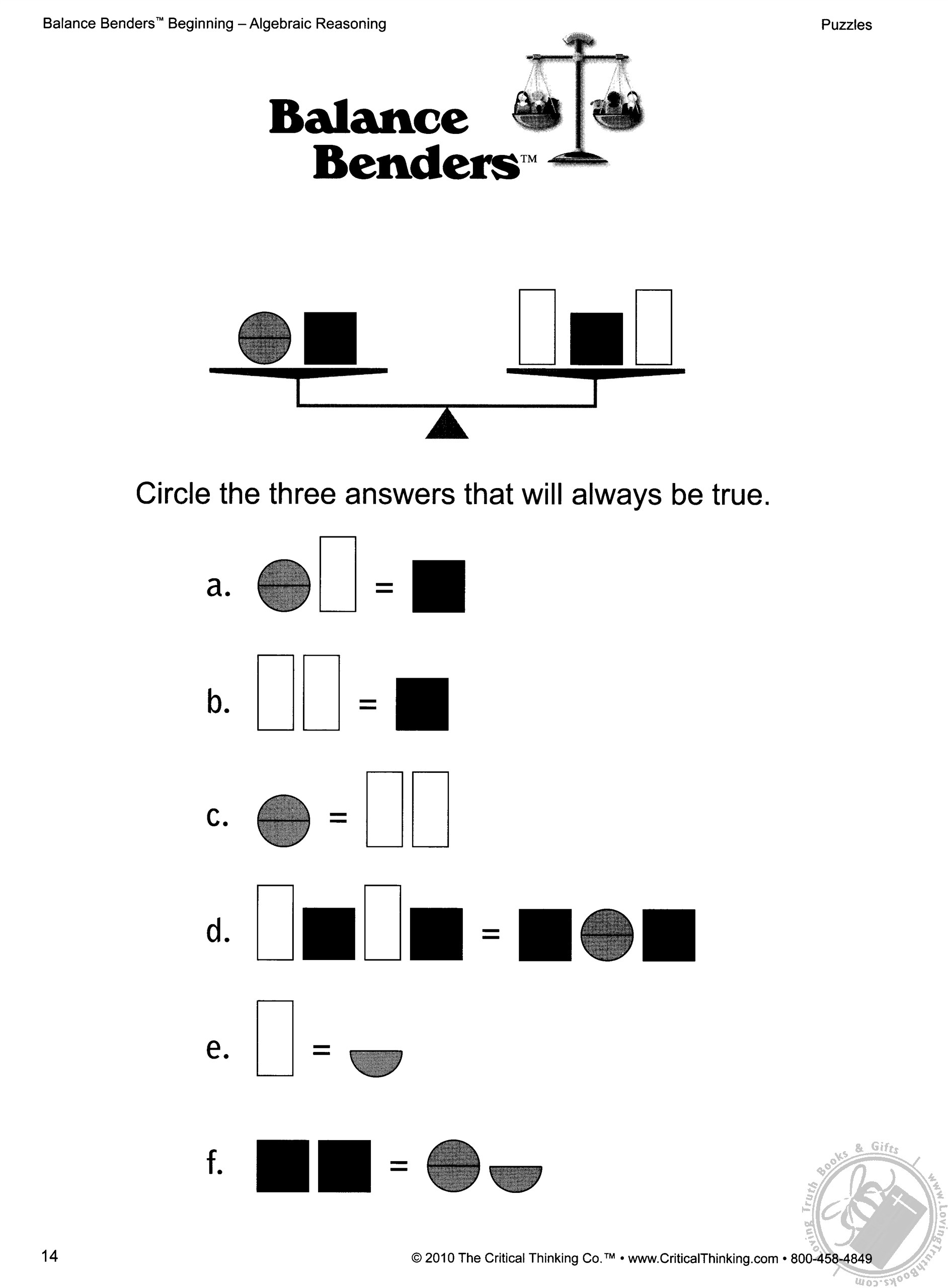 Balance Benders Beginning Level: Logic and Algebraic
