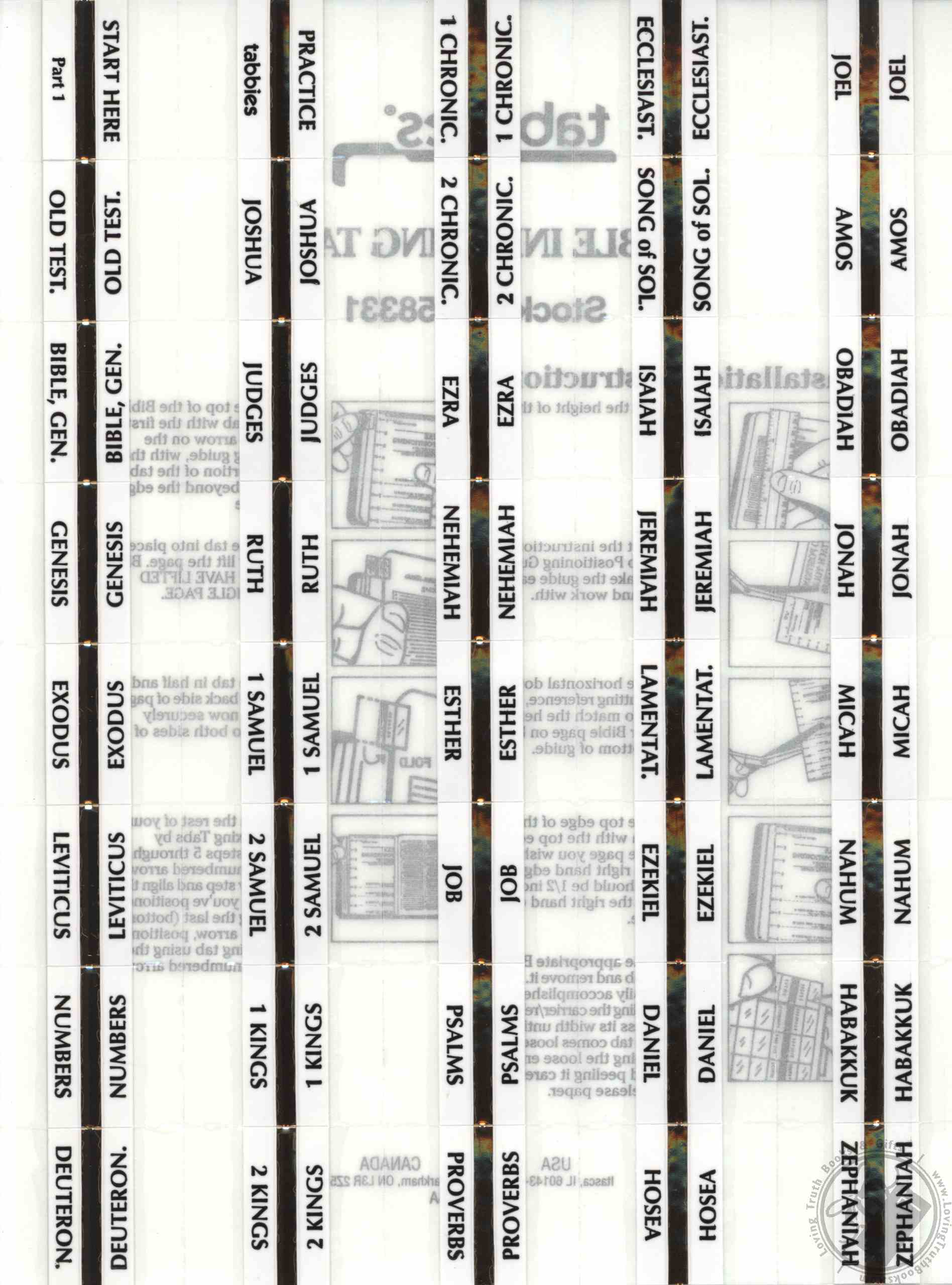 Standard Print Gold Bible Indexing Tabs for any Size Bible