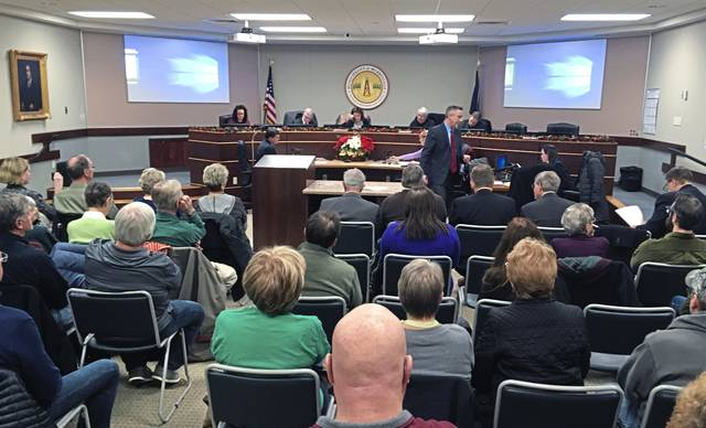 Attorney John Smith gives his opening statement on behalf of the Murrysville Watch Committee on Thursday, Nov. 29, 2018. The group is challenging the validity of Murrysville's fracking ordinance before the municipality's zoning hearing board.