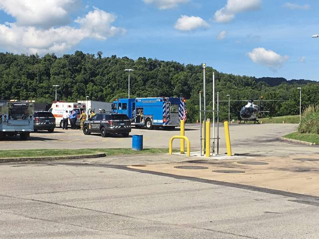 A man was reportedly pinned underneath a tractor-trailer on the Pennsylvania Turnpike in Mt. Pleasant Township on Monday, July 1, 2019.