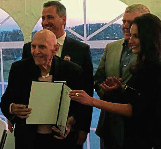 Dick Goat, 88, holds the proclamation naming Oct. 18 as Dick Groat Day in Westmoreland County in a reception at Totteridge Golf Course in Salem. With Groat are Commissioners Ted Kopas, Chuck Anderson and Gina Cerilli. <strong>Video, TribLIVE.com</strong>