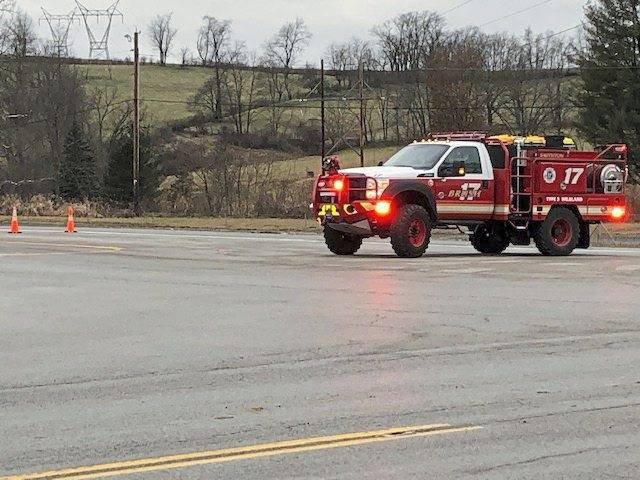 Smithton Fire Department brush truck blocks the Interstate 70 westbound entrance about 9:30 a.m. Sunday after fatal accident. State police in Belle Vernon were investigating but no details were available. Jan. 5, 2020
