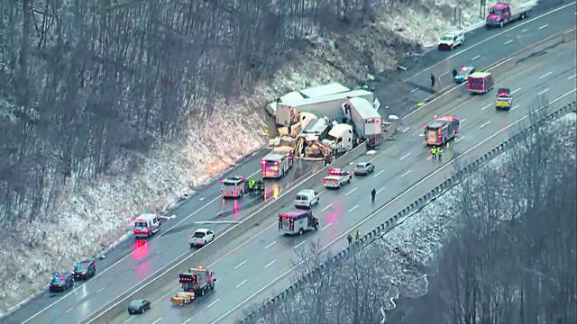 This image from video provided by KDKA shows the scene near Greensburg along the Pennsylvania Turnpike where five people were killed and dozens injured in a crash early Sunday, Jan. 5, that involved multiple vehicles.