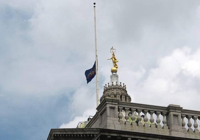 Pennsylvania Gov. Tom Wolf has ordered the commonwealth flag fly at half-staff over the Capitol in honor of Rostraver-West Newton Emergency Services Paramedic Matthew Smelser, who was killed Sunday.