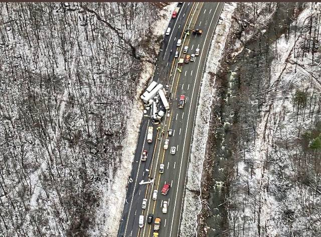 An aerial view of a fatal accident on the Pennsylvania Turnpike in Mt. Pleasant Township on Jan. 5, 2020. Five people died and at least 60 others were treated at local hospitals.